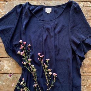 Anthropologie Tops - Anthropologie Postmark Navy Blue Blouse